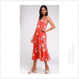 🌷Lulu's Quinlynn Coral Red Floral Print  Dress🌷